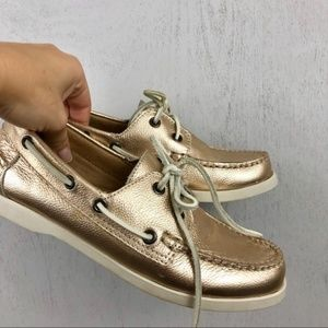 White Mountain Rosegold Metallic Leather Loafers